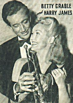 Bandleader - trumpeter, Harry James, w/ his 2nd wife, actress, Betty Grable. His 1st wife was vocalist, Louise Tobin. Hooray For Hollywood, Golden Age Of Hollywood, Classic Hollywood, Don Ameche, Karen Carpenter, Old Sheet Music, Trumpet Players, Star Family, Harry James