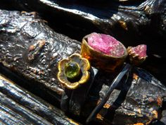SUMMER SALE raw pink tourmaline ring peridot ring by BeijoFlor, $59.50