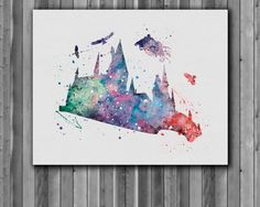 Harry Potter Poster  Hogwarts Aquarell Art von digitalaquamarine