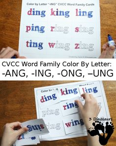 The next set of CVCC Word Family Printables is out. This time is Color by letter for -ANG, -ING, -ONG, - UNG. We always fun have coloring the words. Phonics Reading, Kindergarten Reading, Teaching Reading, Speech Activities, Language Activities, Family Activities, How To Teach Kids, First Grade Reading, Cvc Words