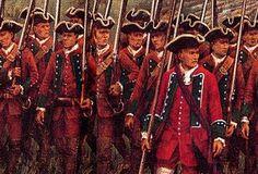 Soldados ingleses marchando en formación.