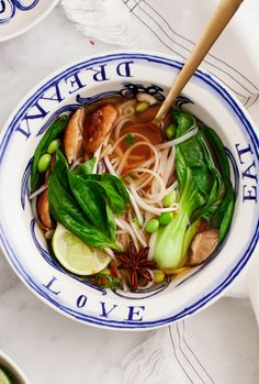A deliciously spiced hot bowl of noodles with hearty shiitake mushrooms and tender baby bok choy.