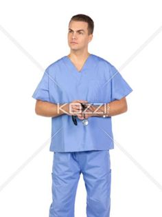a6f7bc58659 young nurse with stethoscope looking away. - Young nurse with stethoscope  looking away while standing against white background, Model: Denis  Bryzgounov