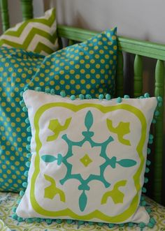 Clever idea to hand-paint pillows to match fabrics you love. From Crap I've Made. #DIY #crafty