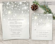 sparkling lights wedding invitations. This beautiful bokeh lights printable wedding invitation set is decorated with bokeh lights that sparkle on a grey or silver background which is great for a fabulous winter wonderland wedding. This listing is for a digital file to print on your own. All text will be customized with your specific wording once the purchase has been made. - WHAT YOU WILL RECEIVE - Two digital files: - Single Sided 5 x 7 Wedding Invitation - Single Sided 5.5 x 4.25 RSVP…