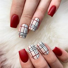 Plaid patterns can be classy, pretty and elegant with different color combinations. Here are 58 pretty plaid nail designs you can try. Plaid Nail Designs, Square Nail Designs, Winter Nail Designs, Winter Nail Art, Nail Art Designs, Winter Nails, Beautiful Nail Designs, Beautiful Nail Art, Long Square Nails