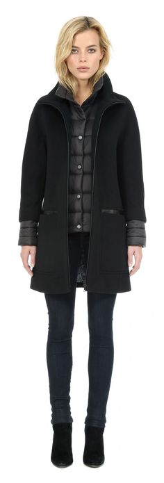 LETIZIA Semi-fitted wool coat with puffy bib in Black | Soia & Kyo