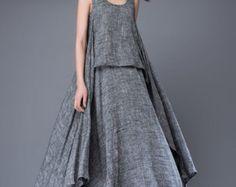 Summer dress Loose fitting Long Sundress Maxi Dress in blue