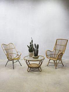 vintage design rotan lounge stoel stoelen Rohe, vintage rattan armchairs Rohe