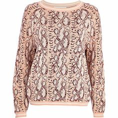 Light pink snake print boxy jumper - jumpers - knitwear - women