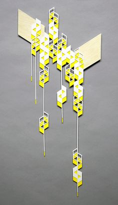 falling yellow parallelograms by sandra fettingis