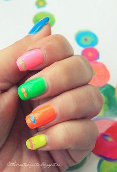 Neon Moutaches Nails