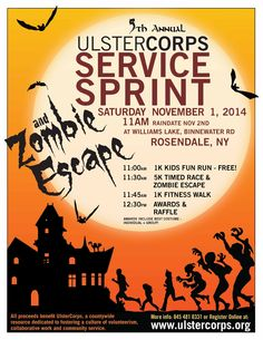 Join us for the UlsterCorps Service Sprint & Zombie Escape 11/1/14