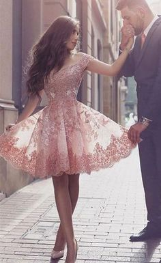 Sparkly Prom Dress, off shoulder short sleeves mini blush lace homecoming dress with appliques , These 2020 prom dresses include everything from sophisticated long prom gowns to short party dresses for prom. Short Sleeve Prom Dresses, Cute Homecoming Dresses, Hoco Dresses, Tulle Prom Dress, Pretty Dresses, Beautiful Dresses, Evening Dresses, Short Sleeves, Dress Lace