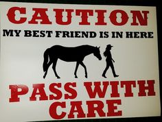 Caution Magnet or Decal for horse trailers or driving cart by HappyTrailsKeepsakes on Etsy