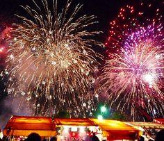 HANABI(Fireworks) :Summer in Japan, fireworks are held often. 4th Of July Pics, July 4th, About Summer Season, Glittering Lights, Fireworks Festival, Japanese Festival, Hanabi, Nightlights, Pompeii