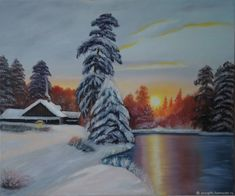 """""""The river under the ice"""" Winter landscape oil Painting – shop online on Livemaster with shipping Oil Painting Basics, Oil Painting For Sale, Artist Painting, Paintings For Sale, Oil Painting On Canvas, Oil Painting Flowers, Texture Painting, Art For Sale Online, Oil Painting Reproductions"""