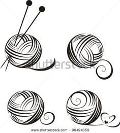 set of yarn balls with needles isolated on White background. Vector illustration by Kalenik Hanna, via ShutterStock