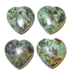"Turquoise Heart 04 Set of Crystal Healing Stones Travel Spiritual Journeying Energy Gems 1.2"" (Gift Box)"
