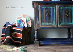 Rustic Boho Console / Sofa / Entry Table Hand by The Turquoise Iris Bohemian Table using paint by General Finishes