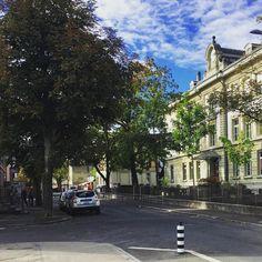 #saturdaymorning #street #trees #school #sky #clouds #blue #bern #switzerland