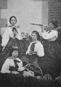 ✧ Empress Elisabeth of Austria and her family Spam [37/50] ✧ Photograph of Elisabeth taken in Madeira. The Empress is sitting playing mandolin with ladies.