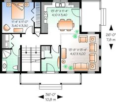Narrow Lot Plan: 1,508 Square Feet, 3 Bedrooms, 2 Bathrooms - 034-00785 Country Style House Plans, Cottage House Plans, Country Style Homes, Cottage Homes, House Floor Plans, The Plan, How To Plan, Plan Plan, Drummond House Plans