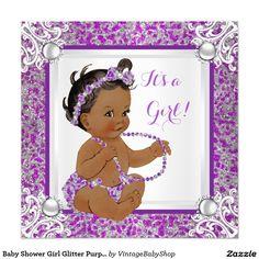 Baby Shower Girl Glitter Purple Silver Lace Ethnic Invitation