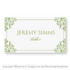 Printable Gold Place Card Template Vintage by WeddingTemplates ...