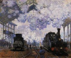 """The Gare Saint-Lazare: Arrival of a Train"" (1877) | Fogg Art Museum, Harvard University; Cambridge, Massachusetts • Claude Monet.  Oil on canvas; 80 x 98 cm"