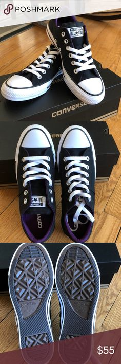 New in box Converse, purple inside. . New Converse, super cute with purple interior.  Never worn. Converse Shoes Sneakers
