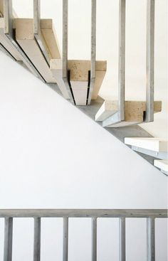 metal railing forms base for stone stairs, floating steps