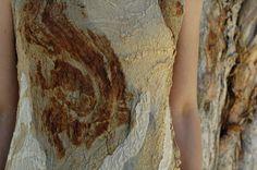 Paperbark inspired silk nuno felt dress. Natural plant dyes, merino wool and silk.