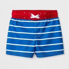 47e53c0b35 Baby Boys' Striped Swim Trunks - Cat & Jack Blue 9M Gender: Male