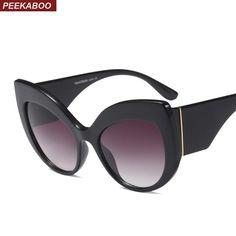 b650cc7bc7 Peekaboo Black Thick Frame Cat Eye Sunglasses Women Sun Glasses Female  Oversized Women Summer Accessories Sexy