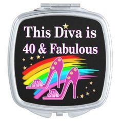 FABULOUS 40TH SHOE QUEEN VANITY MIRROR http://www.zazzle.com/jlpbirthday/gifts?cg=196399248066644806 #40thbirthday #40yearsold #Happy40thbirthday #40thbirthdaygift #40andfabulous #turning40  #happy40th