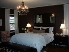 I love dark brown walls in a master bedroom, so long as there's enough room/light/wide trim to balance it out. Just feels cozy Warm Bedroom, Home Bedroom, Bedroom Decor, Bedroom Ideas, Bedroom Inspiration, Bedroom Furniture, Awesome Bedrooms, Nice Bedrooms, Master Bedrooms
