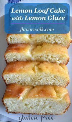 Lemon Loaf Cake with Lemon Glaze is light, moist and lemony. A delicious lemon dessert with the perfect balance of sweet and tart! Need a tasty gluten free dessert? Give these lemon cake a try! #glutenfree #lemon #cake #dessert