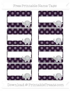 Free Dark Purple Dotted Pattern Elephant Name Tags