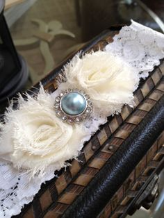Something Blue WHITE or IVORY Garter with Flowers and Blue Rhinestone Button