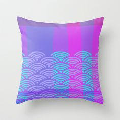 Miko 9 Throw Pillows (indoor & outdoor)) by Cally Creates from $20. Variation 9 of my Miko pattern range inspired by traditional Japanese woodblock wave designs and the colours of heather on Scottish hills by the sea and ocean with a slight influence form Scottish tartans.  (purple blue lilac pink heather berry tones deep colour) www.callycreates.blogspot.co.uk www.facebook.com/cally.creates/