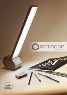 Faceted rolled desk LED Lamp Octagon Diseño: Fyodor Lazariev Lámpara con base de hormigón octagonal y un soporte de madera plana. Diseño que utiliza materiales naturales y formas simples. https://www.behance.net/Lazariev1989