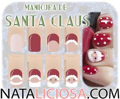 Tutorial paso a paso manicura de Santa Claus / How to paint Santa on your nails, step by step tutorial