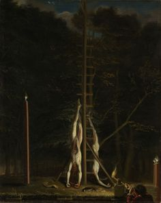 These are the bodies of John and Cornelius de Witt painted by a prominent painter from life, as she evening at eleven still hung on the gallows. Cornelis is the one without a wig. Jan de Witt has his own hair. This is the only painting painted from life on 20th August 1672 and therefore worth a lot of money./ Attributed to Jan de Baen (1633-1702) The mutilated bodies of the brothers De Witt, hung on the gallows Green Zoodje at the Lange Vijverberg in The Hague 20.August 1672/ / oil on…