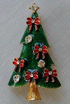 EISENBERG ICE signed Christmas Tree Pin Christmas Tree Pin Red Bows Vintage Enamel Rhinestones Eisenberg Ice Brooch Xmas Z