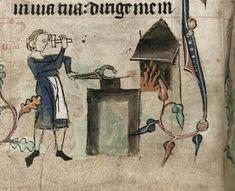 Medieval blacksmith. British Library - Harley 6563 f.68v