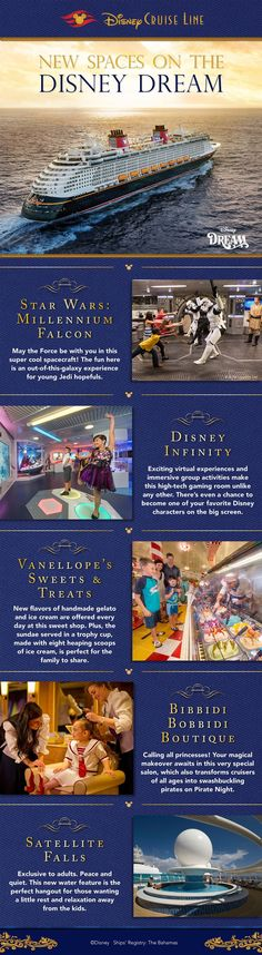 Disney Cruise Line has recently debuted brand-new spaces on the Disney Dream, including the first-ever play area on a Disney ship themed to Star Wars! Here's an inside look at these new spaces onboard the recently enhanced Disney Dream. crystal@wishuponastarwithus.com   217-953-0535