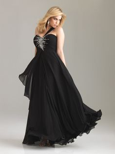 2012 Night Moves Women By Allure Plus Size Prom Dresses - Black Flowing Chiffon Single Shoulder Rhinestone Prom Gown