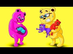 Mega Gummy Bear Mom PREGNANT New Baby Misunderstood! Full Episodes Cartoon Animation Nursery Rhymes - YouTube