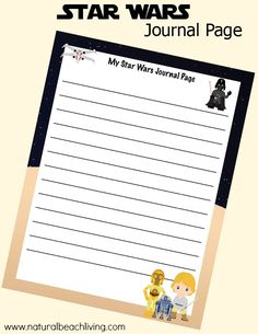 Star Wars Printables Writing Page perfect for kids journaling and handwriting. Kids will love these fun Star Wars ideas plus Free Printables are perfect too
